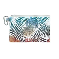 Gradient Tropical Leaves Canvas Cosmetic Bag (medium) by goljakoff