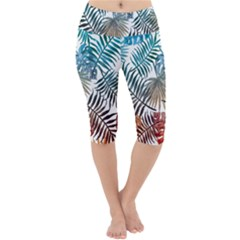 Gradient Tropical Leaves Lightweight Velour Cropped Yoga Leggings
