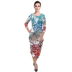 Gradient Tropical Leaves Quarter Sleeve Midi Velour Bodycon Dress by goljakoff