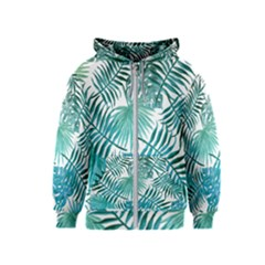 Azure Tropical Leaves Kids  Zipper Hoodie by goljakoff