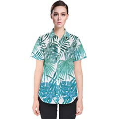 Azure Tropical Leaves Women s Short Sleeve Shirt by goljakoff