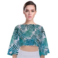 Azure Tropical Leaves Tie Back Butterfly Sleeve Chiffon Top by goljakoff