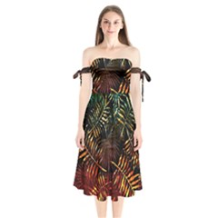 Night Tropical Leaves Shoulder Tie Bardot Midi Dress by goljakoff