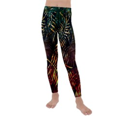 Night Tropical Leaves Kids  Lightweight Velour Leggings by goljakoff