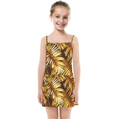 Gold Tropical Leaves Kids  Summer Sun Dress by goljakoff