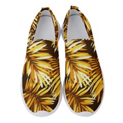 Gold Tropical Leaves Women s Slip On Sneakers by goljakoff