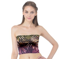 Green And Purple Tropical Leaves Tube Top by goljakoff