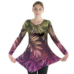 Green And Purple Tropical Leaves Long Sleeve Tunic  by goljakoff