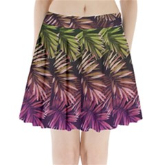 Green And Purple Tropical Leaves Pleated Mini Skirt by goljakoff