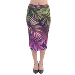 Green And Purple Tropical Leaves Velvet Midi Pencil Skirt by goljakoff