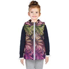 Green And Purple Tropical Leaves Kids  Hooded Puffer Vest by goljakoff