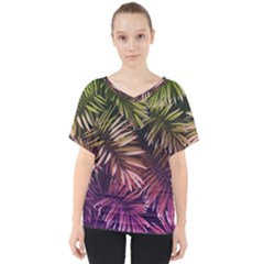 Green And Purple Tropical Leaves V Neck Dolman Drape Top by goljakoff