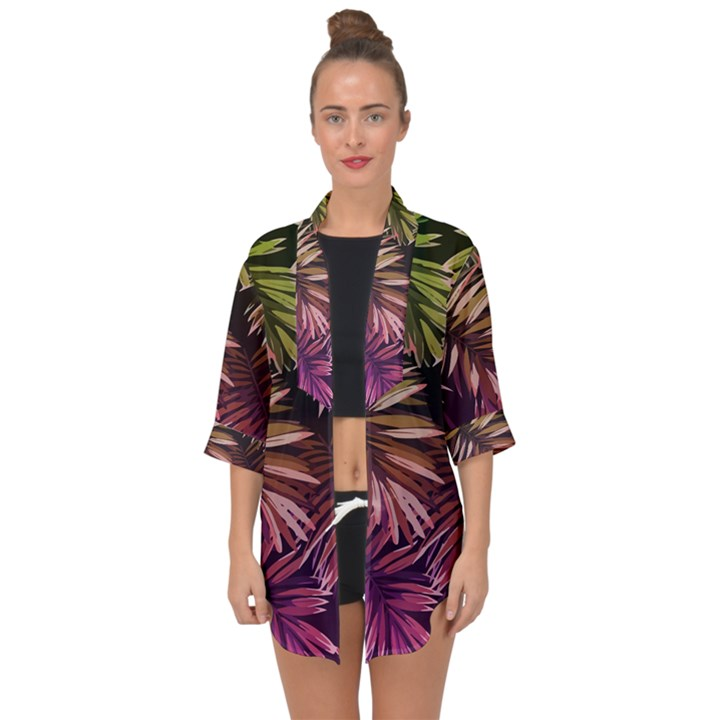Green and purple tropical leaves Open Front Chiffon Kimono