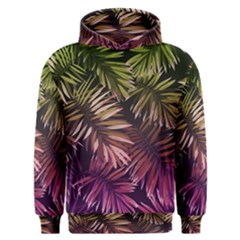 Green And Purple Tropical Leaves Men s Overhead Hoodie by goljakoff