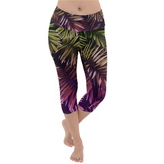 Green And Purple Tropical Leaves Lightweight Velour Capri Yoga Leggings by goljakoff