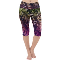 Green And Purple Tropical Leaves Lightweight Velour Cropped Yoga Leggings by goljakoff