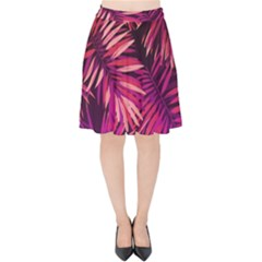 Pink Tropical Leaves Velvet High Waist Skirt by goljakoff