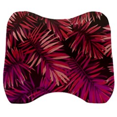 Pink Tropical Leaves Velour Head Support Cushion by goljakoff