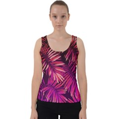 Pink Tropical Leaves Velvet Tank Top by goljakoff