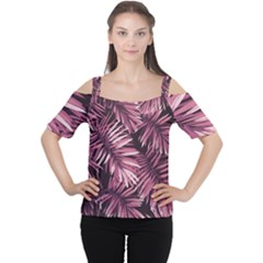 Rose Tropical Leaves Cutout Shoulder Tee by goljakoff