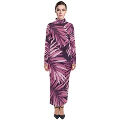 Rose Tropical Leaves Turtleneck Maxi Dress by goljakoff