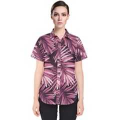 Rose Tropical Leaves Women s Short Sleeve Shirt by goljakoff