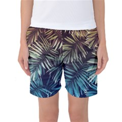 Gradient Tropical Leaves Women s Basketball Shorts by goljakoff