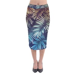 Gradient Tropical Leaves Velvet Midi Pencil Skirt by goljakoff