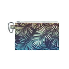 Gradient Tropical Leaves Canvas Cosmetic Bag (small) by goljakoff