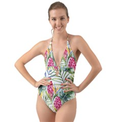 Tropical Leaves And Flowers Halter Cut Out One Piece Swimsuit by goljakoff