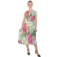 Tropical Leaves And Flowers Midi Tie-back Chiffon Dress