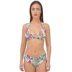 Tropical Leaves And Flowers Double Strap Halter Bikini Set by goljakoff