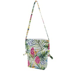 Tropical Leaves And Flowers Folding Shoulder Bag by goljakoff