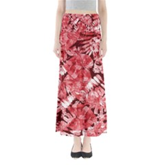Red Tropical Leaves Full Length Maxi Skirt by goljakoff