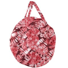 Red Tropical Leaves Giant Round Zipper Tote by goljakoff