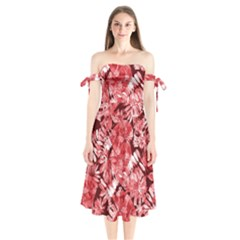 Red Tropical Leaves Shoulder Tie Bardot Midi Dress by goljakoff