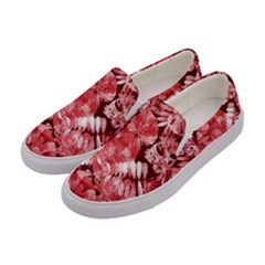 Red Tropical Leaves Women s Canvas Slip Ons by goljakoff