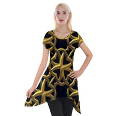 Gold Black Starfish Short Sleeve Side Drop Tunic