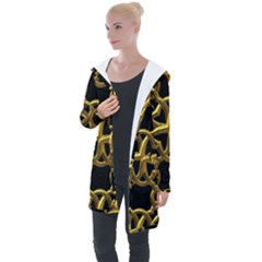 Gold Black Starfish Longline Hooded Cardigan by retrotoomoderndesigns