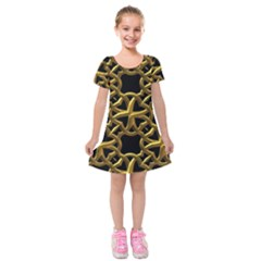 Gold Black Starfish Kids  Short Sleeve Velvet Dress by retrotoomoderndesigns