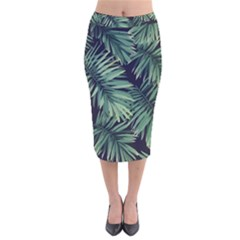 Green Tropical Flora Velvet Midi Pencil Skirt by goljakoff