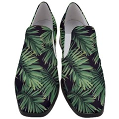 Green Tropical Flora Slip On Heel Loafers by goljakoff