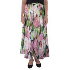 Pastel Pink Roses Flared Maxi Skirt