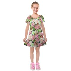 Pastel Pink Roses Kids  Short Sleeve Velvet Dress by retrotoomoderndesigns