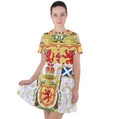 Royal Coat Of Arms Of Kingdom Of Scotland, 1603-1707 Short Sleeve Shoulder Cut Out Dress