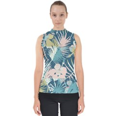 Minimalistic Flowers Mock Neck Shell Top by goljakoff