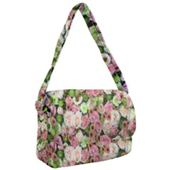Pastel Pink Roses Courier Bag by retrotoomoderndesigns