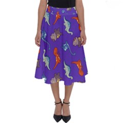 Dinosaurs   Periwinkle Perfect Length Midi Skirt by WensdaiAddamns