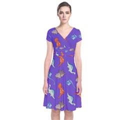 Dinosaurs - Periwinkle Short Sleeve Front Wrap Dress by WensdaiAmbrose