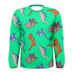Dinosaurs   Aqua Green Men s Long Sleeve Tee